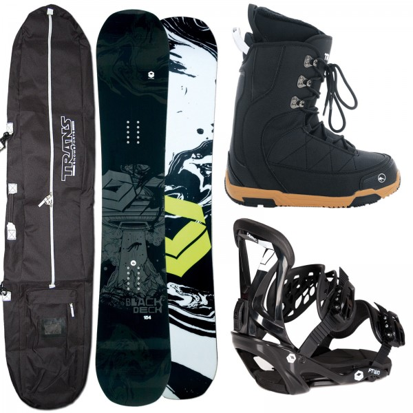HERREN SNOWBOARD FTWO BLACKDECK + FTWO SONIC BINDUNG + BOOTS + BAG