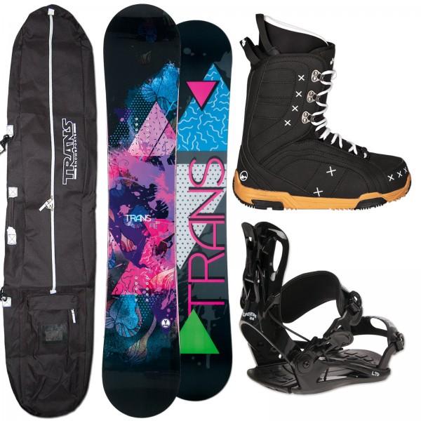 DAMEN SNOWBOARD TRANS FE ROCKER + FASTEC BINDUNG + BOOTS + BAG