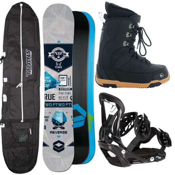 HERREN SNOWBOARD FTWO REVERSE GREY + FTWO SONIC BINDUNG + BOOTS + BAG