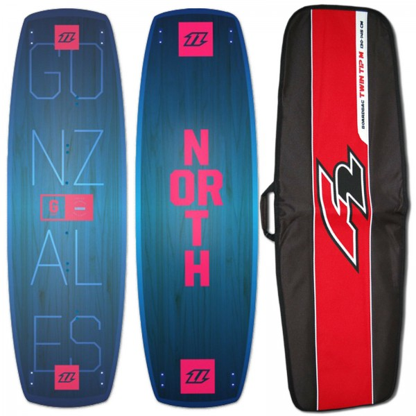 NORTH GONZALES KITEBOARD INKL. FINBOX + F2 TWIN TIP BOARDBAG