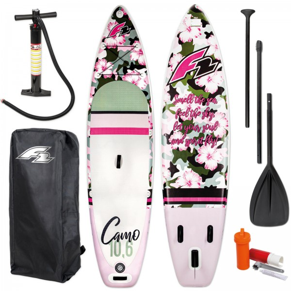 F2 SUP CAMO WOMAN 2020 STAND UP PADDLE BOARD + PADDEL + BAG + PUMPE